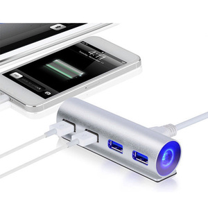High Speed All in 1 USB Hub Mini 4 Port USB 3.0 Aluminum Hub For Laptop PC Computer Phone Accessories With Light