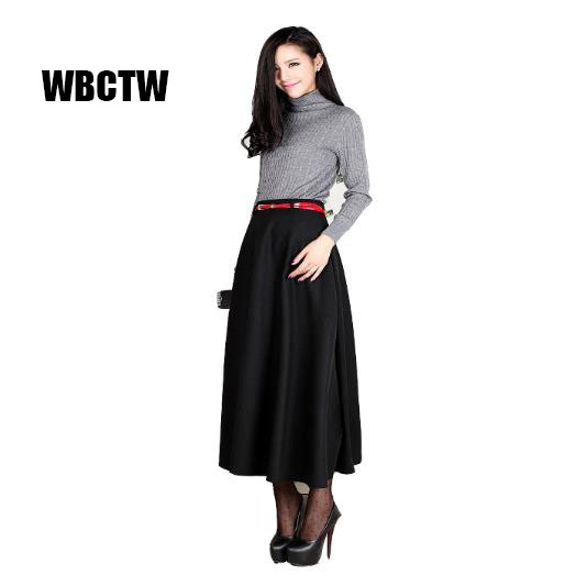 Hot retail wholesale 2017 new arrival women's clothing high waist long warm skirts plus size black Woolen maxi skirt