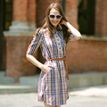 Veri Gude Summer Dress Plaid Dress Women Half Sleeve Cotton Dress Belt Included