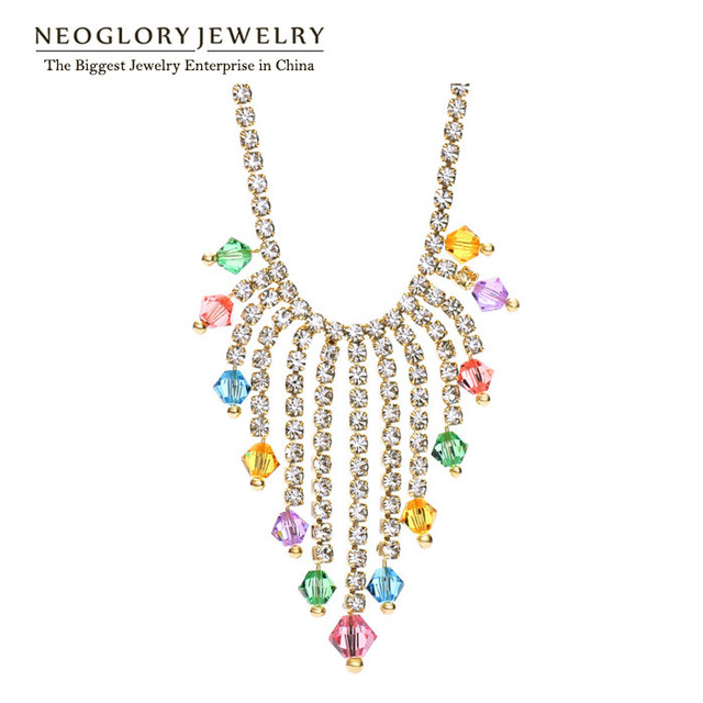 Neoglory Czech Rhinestone Auatria Crystal Light Yellow Gold Color Fashion  Chains Necklaces for Girls Jewelry 2018 dc417a9e0dbc