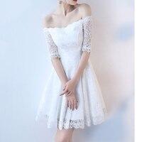 2018 Fashion Women Elegant Vintage sweet lace white Dress stylish sexy slash neck casual slim Summer Sundress vestidos