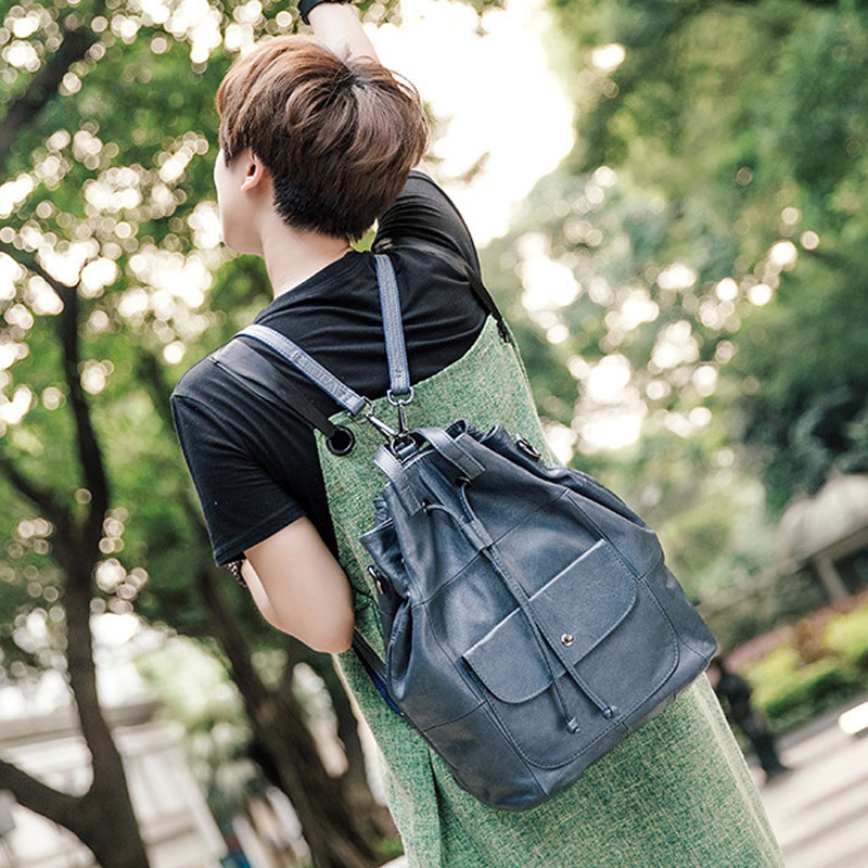 AETOO New wild cowhide  leather bag retro style students shoulder bag female travel anti - theft backpack