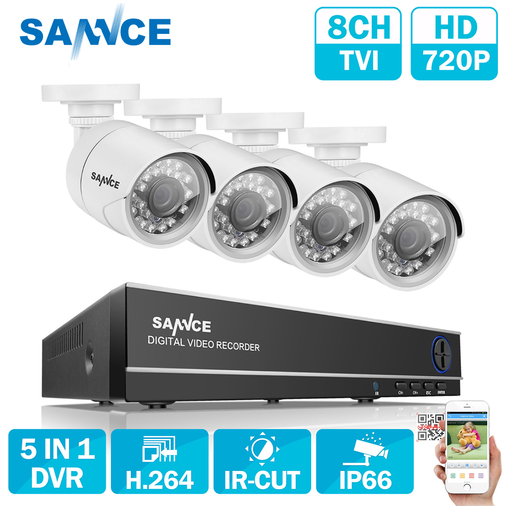 SANNCE 8CH 720P AHD DVR 4PCS 1200TVL IR Night Vision Outdoor CCTV Camera 24 LEDs Home Security CCTV System Surveillance Kit DT sannce 4 channel 720p dvr cctv camera system 2pcs 1200tvl 720p ir outdoor security camera system surveillance kit 1tb hdd