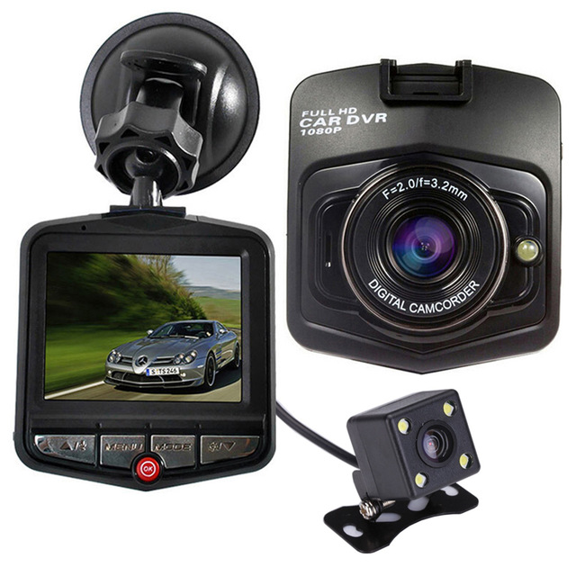 DUAL lens Car camera dvr video Recoder 2.4 TFT display FHD 1080P DVR Camera With Rear View Cameras Night Vision Camcorder
