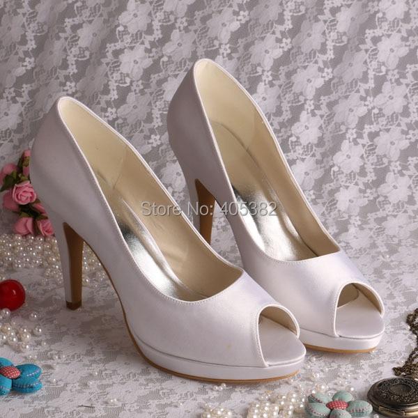 ФОТО Wedopus Custom Handmade Peep Toe Bridal Wedding White Shoes High Heeled Size 9