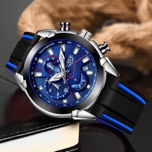 Image 2 - LIGE relojes para hombre, correa de silicona, cronógrafo deportivo, resistente al agua, de cuarzo, de negocios, masculino