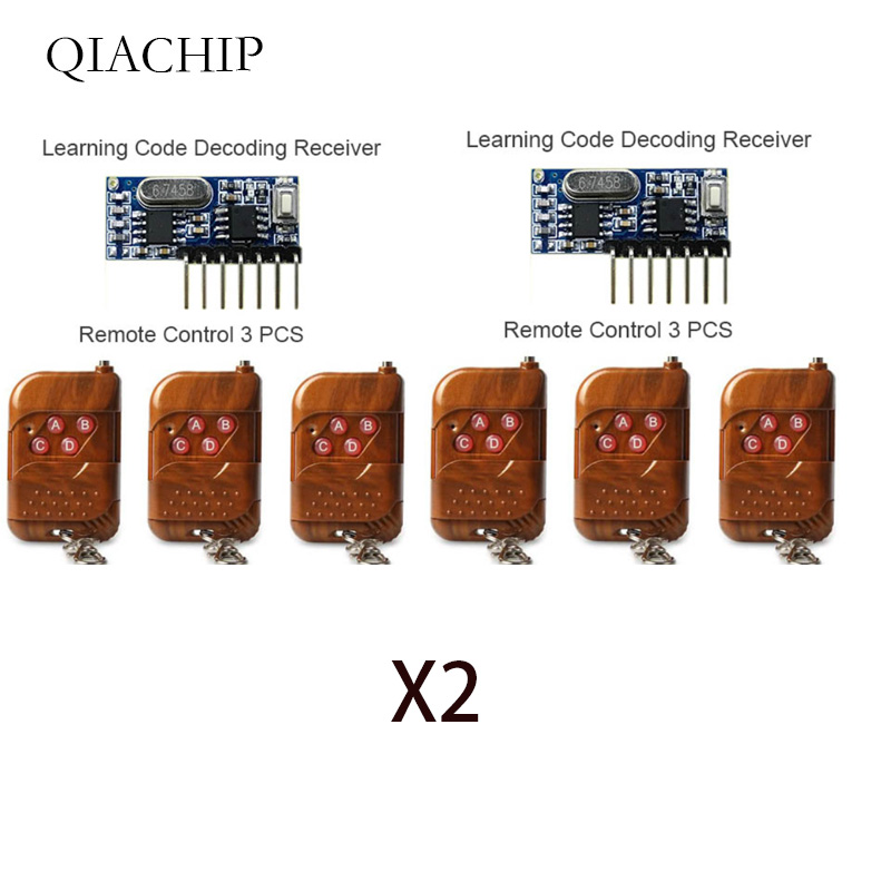 3pcs 433Mhz Remote Control and 1pcs 433 Mhz Wireless Receiver Learning Code 1527 Decoding Module 4Ch output With Learning Button-in Remote Controls from Consumer Electronics