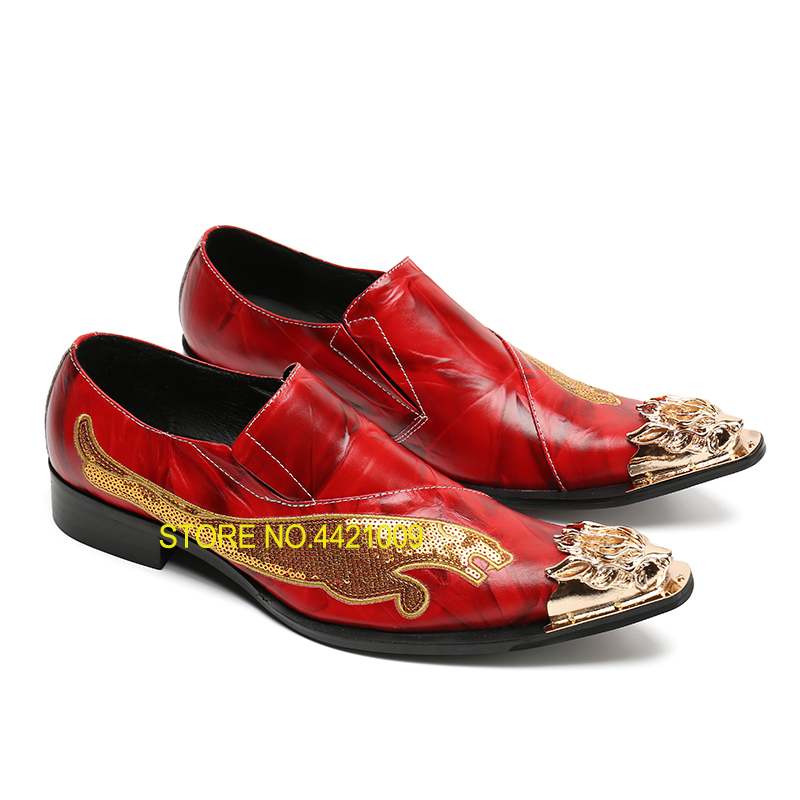 Red mens wedding shoes barque party shoes man pointed toe slip on genuine leather shoes men fashion sequins metal dragon designRed mens wedding shoes barque party shoes man pointed toe slip on genuine leather shoes men fashion sequins metal dragon design