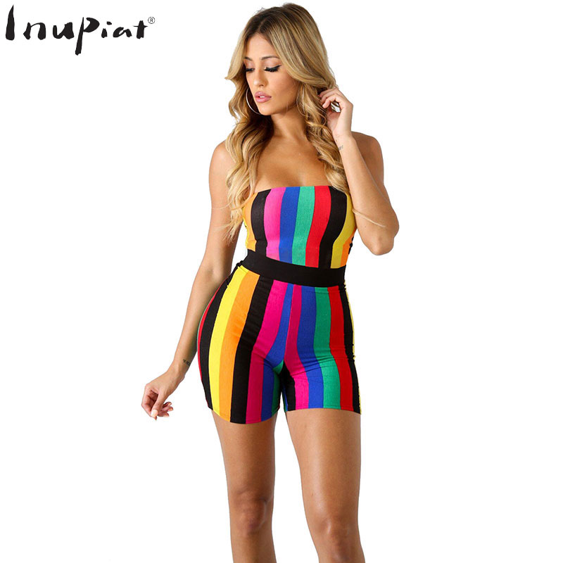 Colorful Striped Rompers Womens Jumpsuit Sexy Strapless Slim Style Short Romper One Piece Overalls Playsuit for Ladies Plus Size