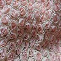 3D Rose Pink Chiffon Fabric Embroidered Flower Bridal Lace Fabric Dress Wedding Photography Background Bed Cloth