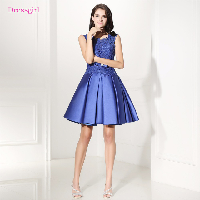 Royal Blue 2019 Homecoming Dresses A-line Cap Sleeves Short Mini Lace Beaded Elegant Cocktail Dresses