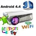 Envío Libre Más Nuevo!! brillantes 3600 lúmenes Construir-en Android 4.4 Wifi Proyector Full HD Android LED proyector de Vídeo Digital 3D