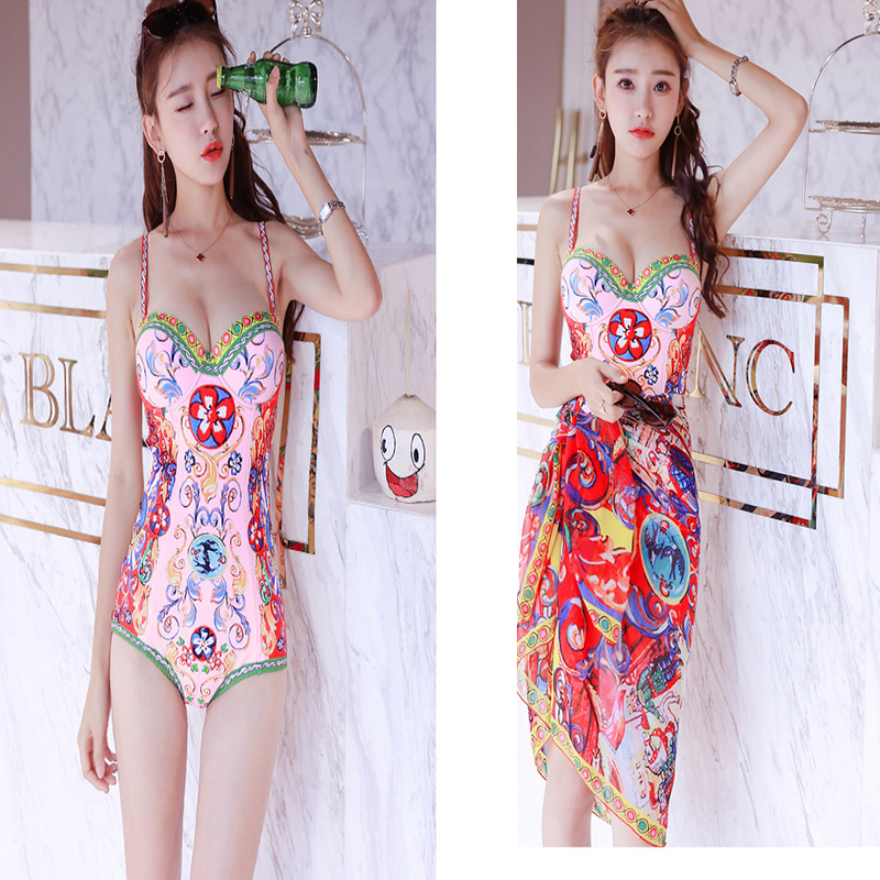1 Piece Swimsuit Women Bodysuit Summer Clothes For Printed Female Underwire Bracket Cover Beach Print Polyester Bathing Suit