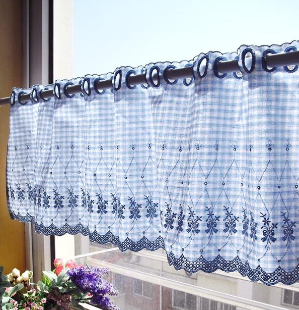 ELegant Blue Gingham With Embroidery Flower Kitchen
