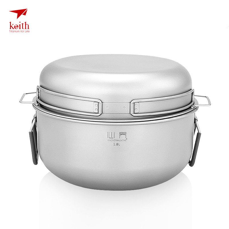 Keith Titanium Pot Outdoor Camping Cookware Cooking Steam Pot Set Food Steamer Drawer Fry Pan For