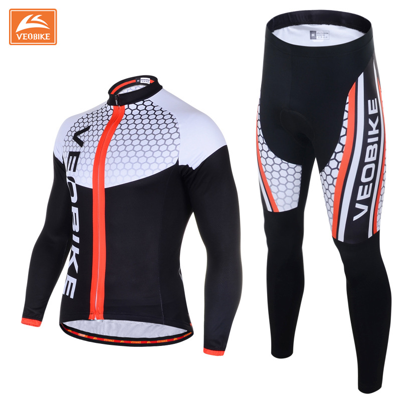 VEOBIKE Autumn Pro Team Men's Cycling MTB Bike Long Sleeve Bicycle Sports Jersey Set Gel Quick Dry Breathable Ciclismo Clothing veobike 2017 pro men cycling jersey set breathable mtb clothes quick dry bicycle summer sportswear bike jerseys ropa ciclismo