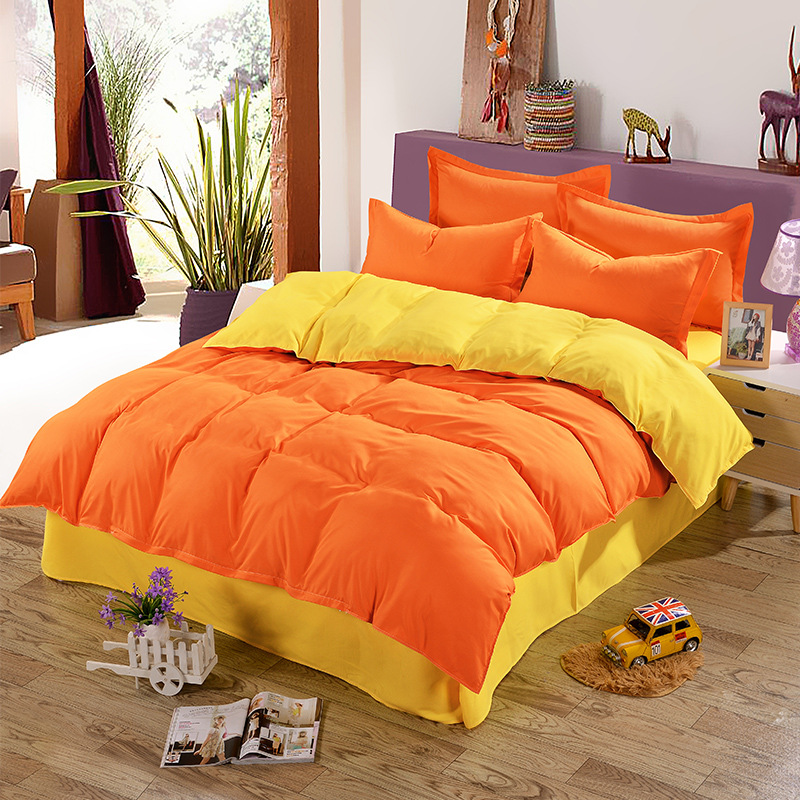 AB Side Bedding Set Orange Yellow Duvet Cover 1pc Solid Color Microfiber Quilt Cover,Kids/adult Bedding Set Full Queen King Size