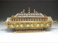 Elaborate Chinese Tibet elongated aureate brass box statue incense burner