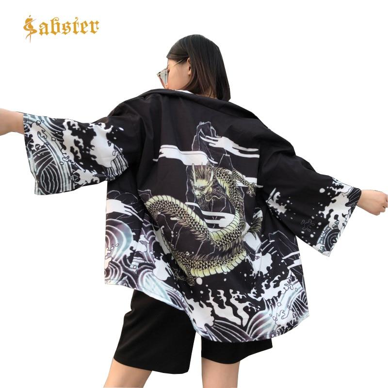 Harajuku Summer Women Japanese Style Clause Loose Cardigan Blouse Female Fashion Oversized Women Shirt  Dragon Print Shirts
