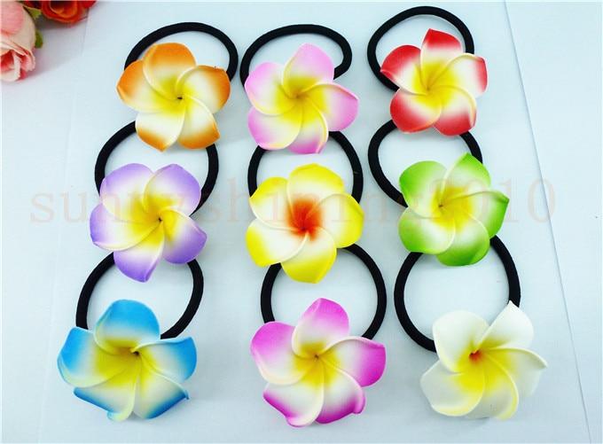 Цветочные украшения для волос ленты для волос пена Гавайский цветок Плюмерия эластичный Гавайский ФРАНЖИПАНИ лента для волос Веревка для волос - Цвет: Многоцветный
