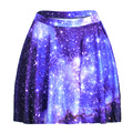 NEW 1188 Summer Harajuku Sexy Girl Galaxy Blue Sky Star Printed Cheering Squad Tutu Skater Women Mini Pleated Skirt Plus Size