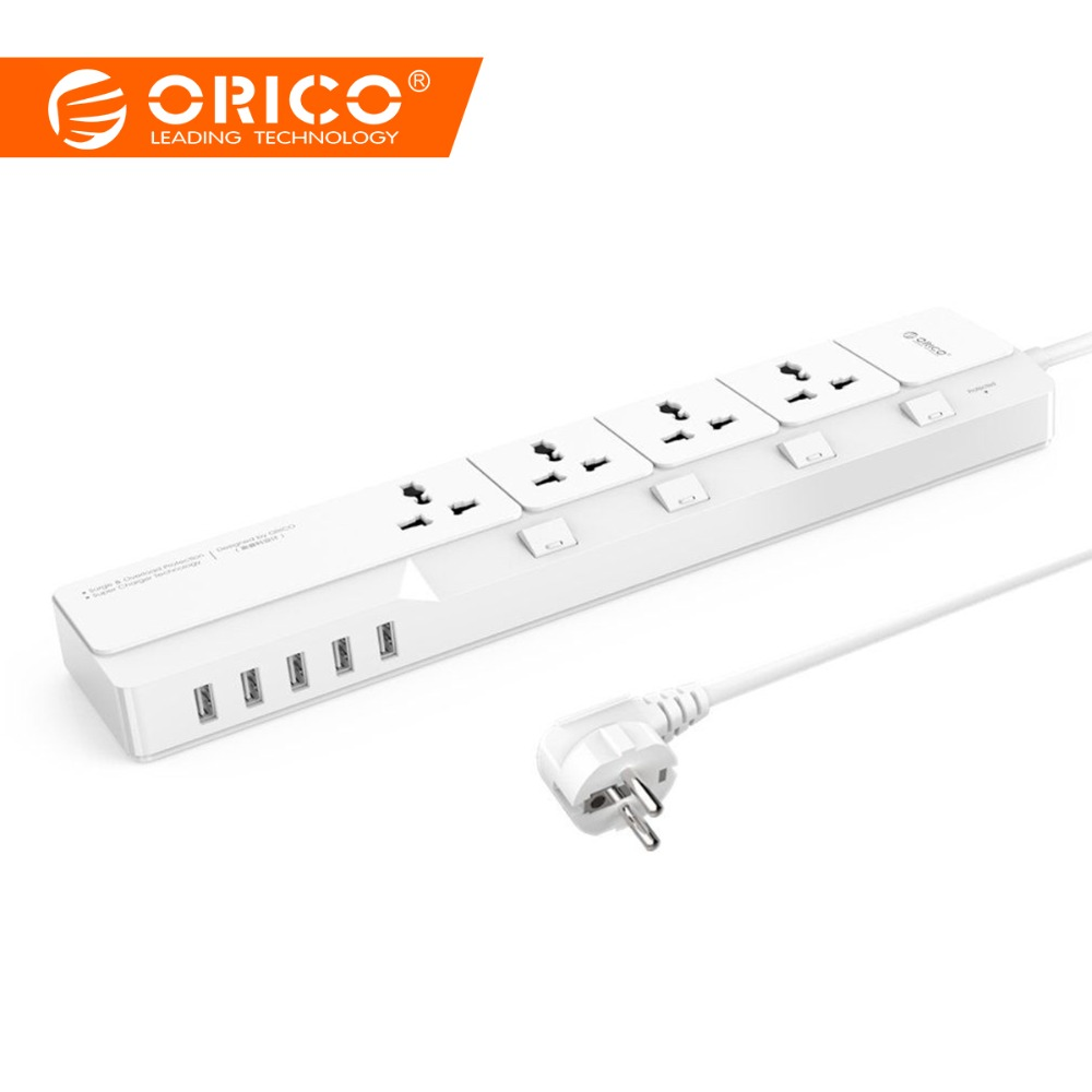 ORICO Smart USB Power Strip Home Office Surge Protector 4 AC Power Sockets with 5 USB Charger Ports 1.5M Cable EU/US/UK Plug