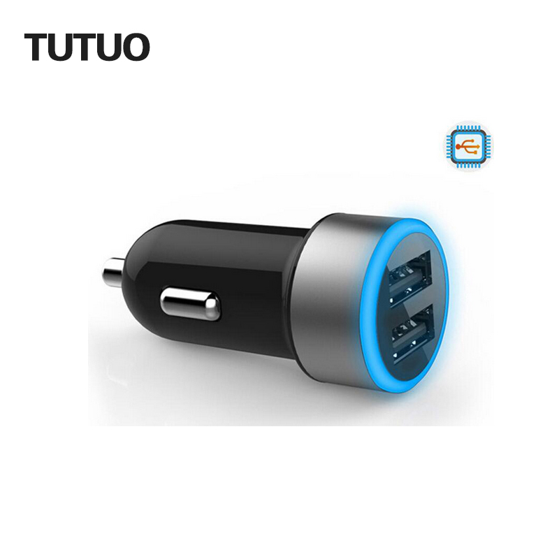 TUTUO 2016 New Travel USB Car Charger Adapter Cigarette Lighter Power Charger for iphone 6/6s/6 Plus 2 usb port 4800mA 12V-24V