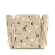 ENSSO New Fashion Rabbit Tassels Squirrel Solid Beige Metal Women Bags Prints Floral Flower Mori Vintage Shoulder Messenger Bags