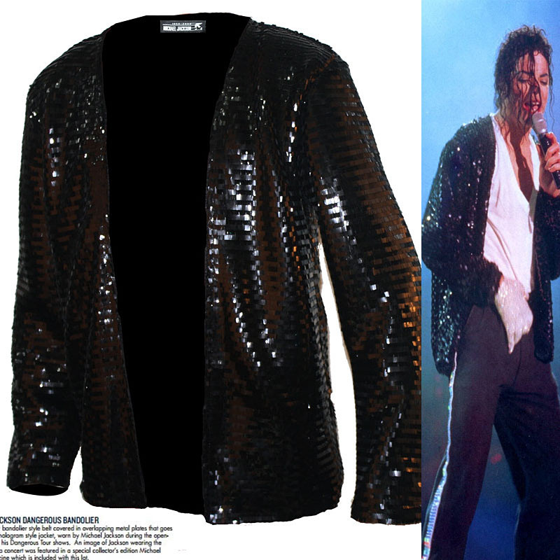 Classic MJ Bomber Punk Billie Jean Jacket Men, MICHAEL JACKSON Costume Peformance Cool Black Sequins Jacket Brand Clothing