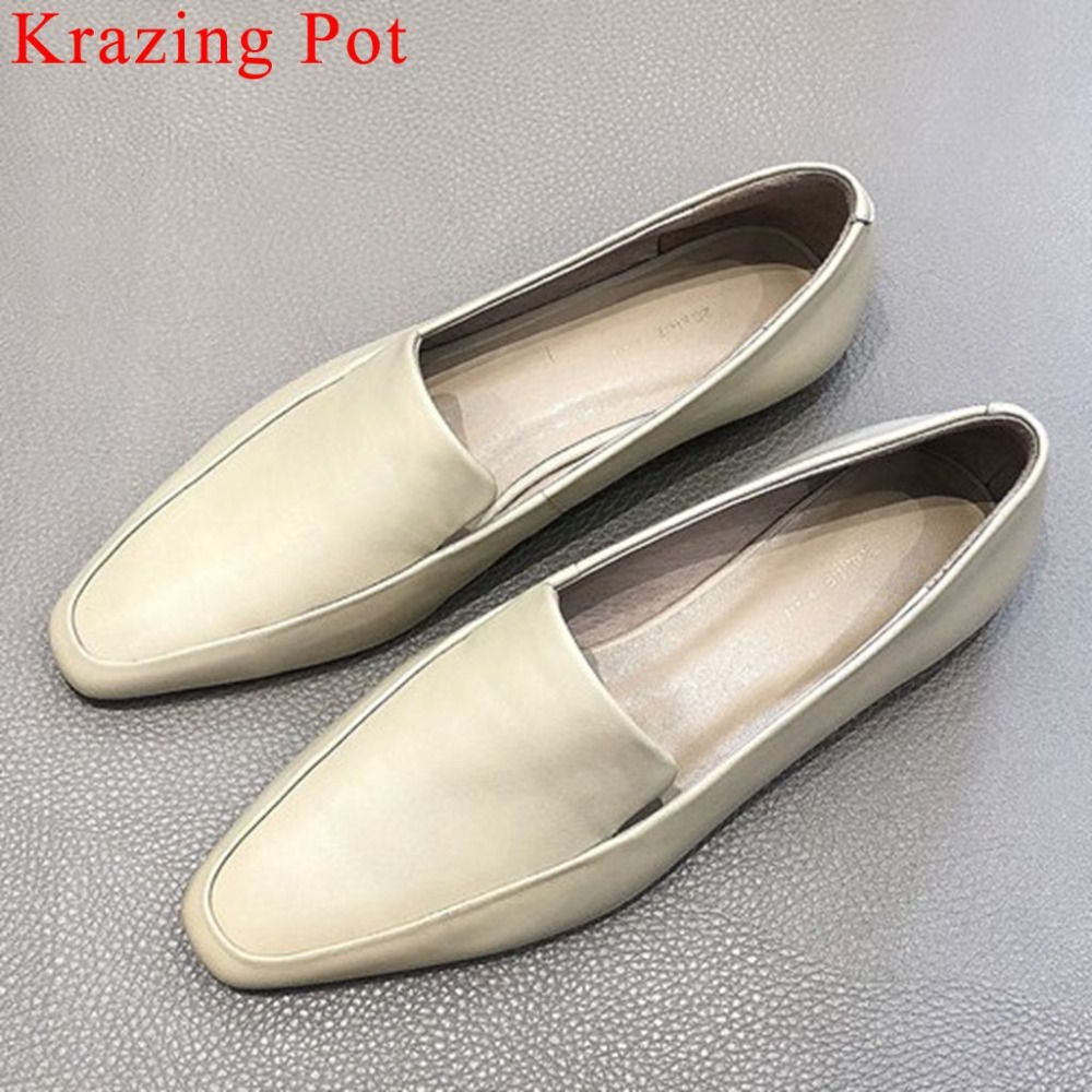 2019 hot salling British style low heels luxury genuine leather covered classic square toe loafers vocation