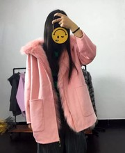 Natural Fur Parkas Jacket Winter Thick Warm Real Fox Fur Lined Detachable Double Sided Woolen Coat Women