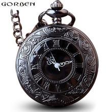 Античная Подвеска в стиле стимпанк черный кварц ожерелье карманные часы для женщин Вэнь полые винтажные Fob часы с цепочкой Подвески подарок
