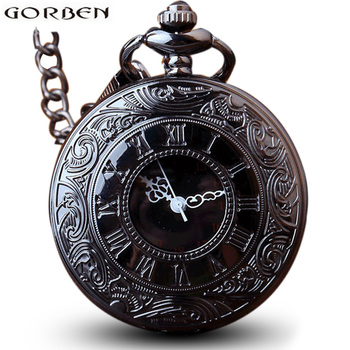 Antique Steampunk Charm Black Quartz Necklace Pocket Watch Women Wen Hollow Vintage Fob Clock With Chain Pendants Gift image