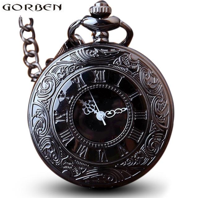 Antique Steampunk Charm Black Quartz Necklace Pocket Watch Women Wen Hollow Vint