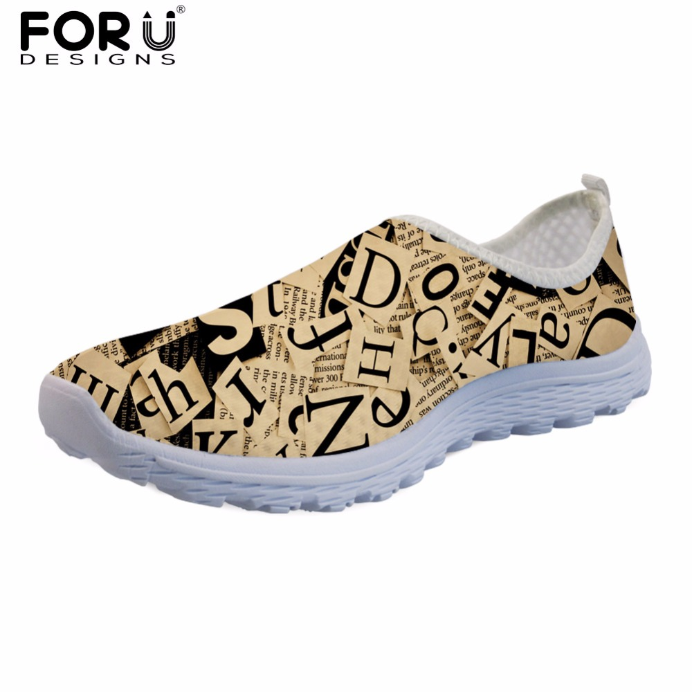 FORUDESIGNS Summer Flats Shoes Women Casual Brand Female 3D Letter Pattern Breathable Mesh Sneakers for Lady Fashion Girls Shoes women jelly shoes candy sandals luxury brand summer beach flats bowknot shoes casual lady fashional envirionmental shoes female