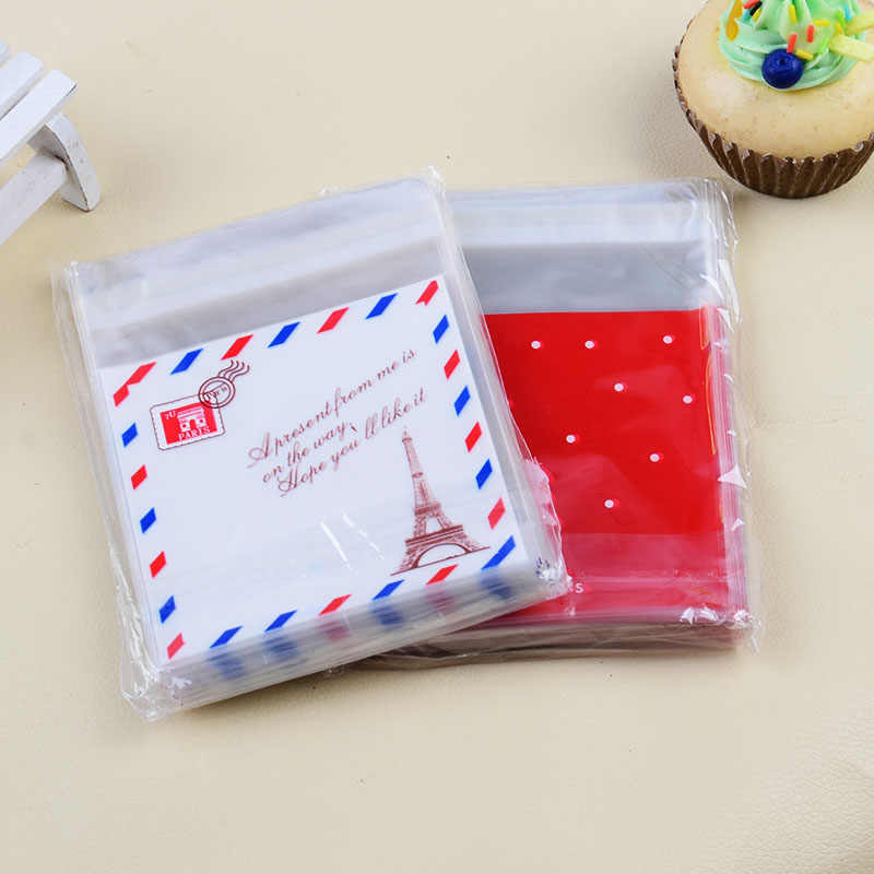 10 Pcs 10x10cm Candy Cookies Bags with adhesive OPP Plastic gift bag Wedding home party Food packaging kids birthday cartoon