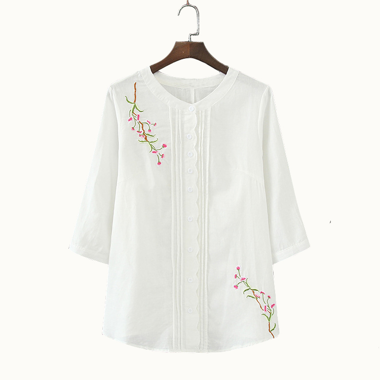 plus size Embroidery Blouse Shirt Cotton Linen Women Blouses Camisas Femininas Korean Flower Embroidered Tops Female Clothing