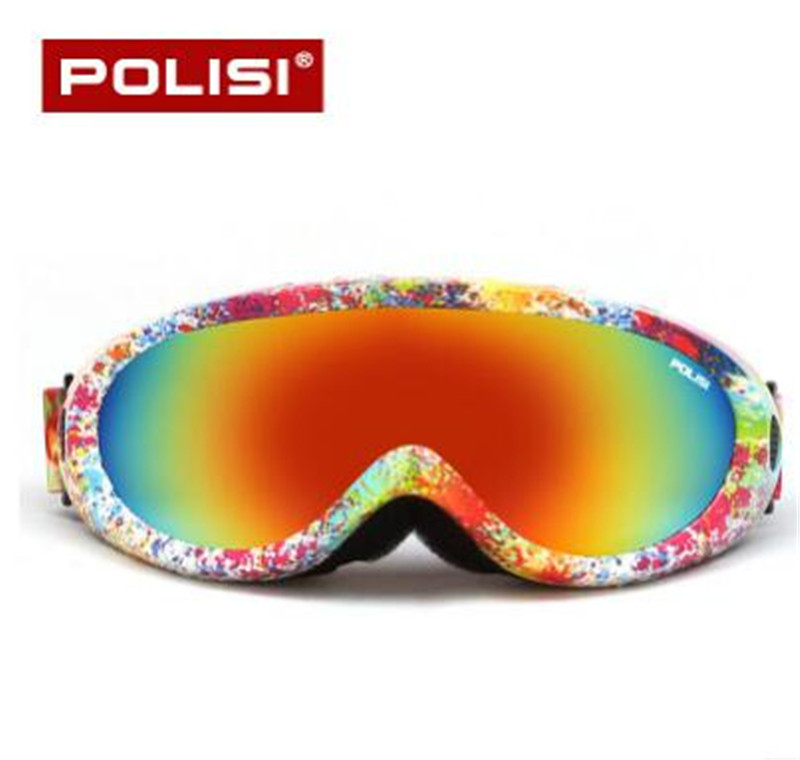 POLISI Men Women Winter Outdoor Sports Snowmobile Snowboard Skate Ski Goggles UV400 Motorcycle Glasses Anti-Fog Skiing Eyewear