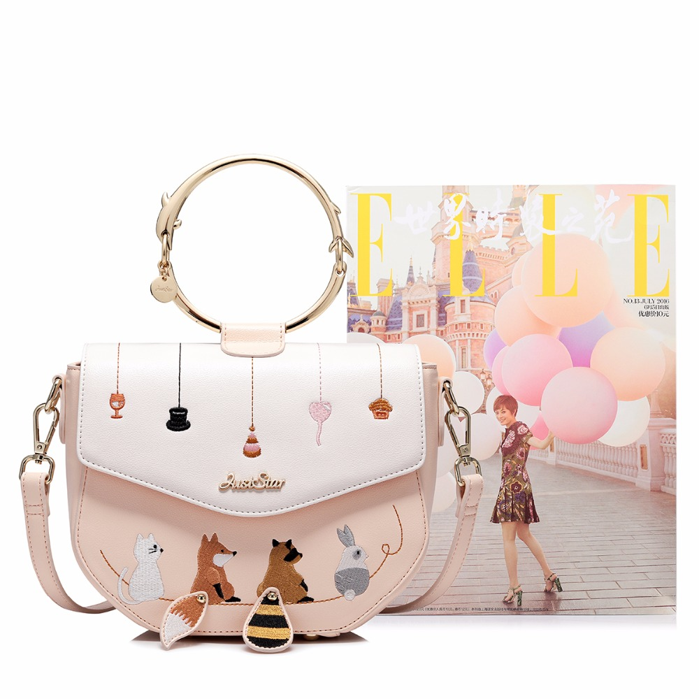 467ac0c36db5 JUST STAR Brand Women s Leather Handbag Ladies Cartoon Animals Embroidery  Tote Purse Female Ring Handle Messenger Bags JZ4529-in Top-Handle Bags from  ...