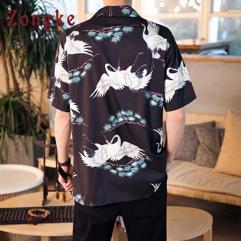 Zongke китайский журавль Летняя мужская гавайская рубашка уличный с короткими рукавами черная рубашка Для мужчин цветочный Для мужчин футболки XXL Костюмы 2019 Новый