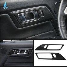 Для Ford Mustang 2015 2016 2018 2017 углерода черный интерьер автомобиля двери чехол руля отделкой рамки стикеры декор гарнир интимные аксессуары/
