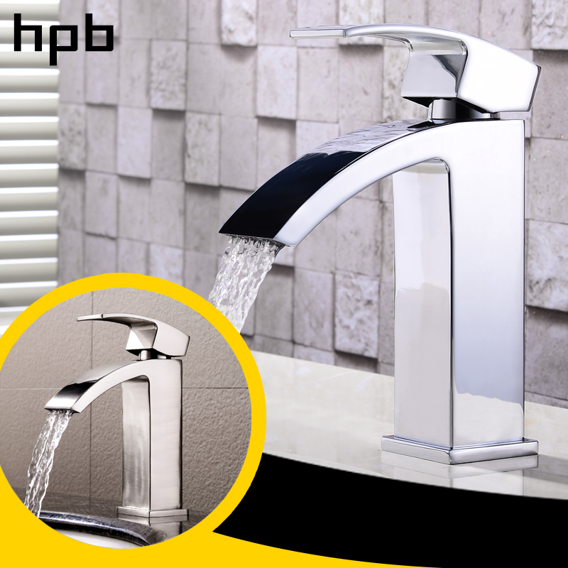 HPB Waterfall Basin Faucet Bathroom Sink Tap Mixer Single Lever Single Handle Chrome & Brushed Finish Hot And Cold Water HP3A11 us free shipping wholesale and retail chrome finish bathrom sink basin faucet mixer tap dusl handle three holes wall mounted
