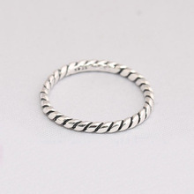 925 Sterling Silver Twisted Rope Designed Ring