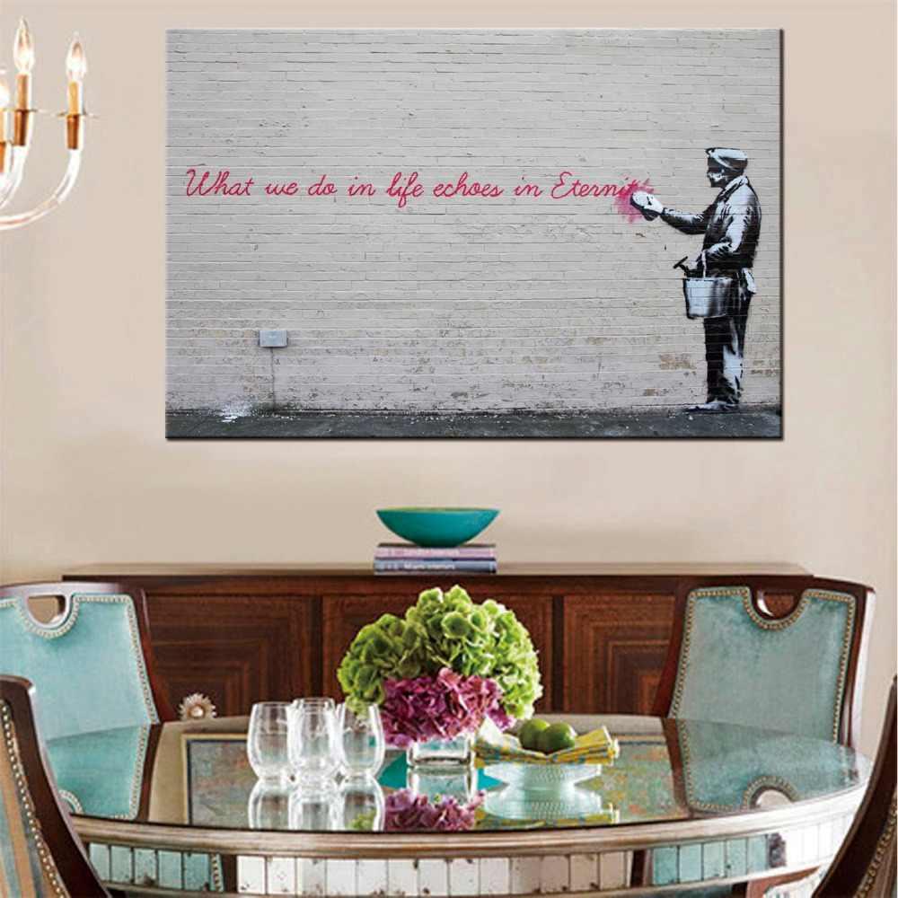 1 панель граффити стрит-арт Печать Холст Поп Арт жизнь короткие Настенные рисунки тканевый плакат домашний декор