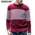 Sweater Men Casual Striped Slim Solid O-Neck Hand Knitted Brand Clothing Cotton Comfortable Warm Mens Clothing Free Shipping