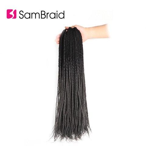 SAMBRAID Senegalese Twist Hair Crochet Braids Synthetic Braiding Hair Extensions 24 Inch 30 Roots/pack Afro Crotchet Ombre Hair Karachi