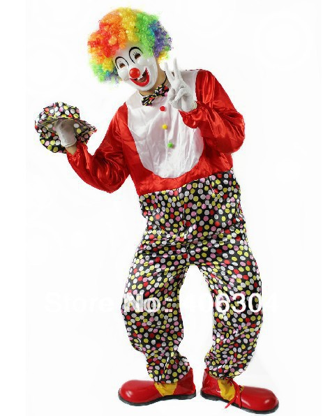 Free shipping,halloween adult Clown party Clothes including red dot clown costume mask gloves hat wig shoes