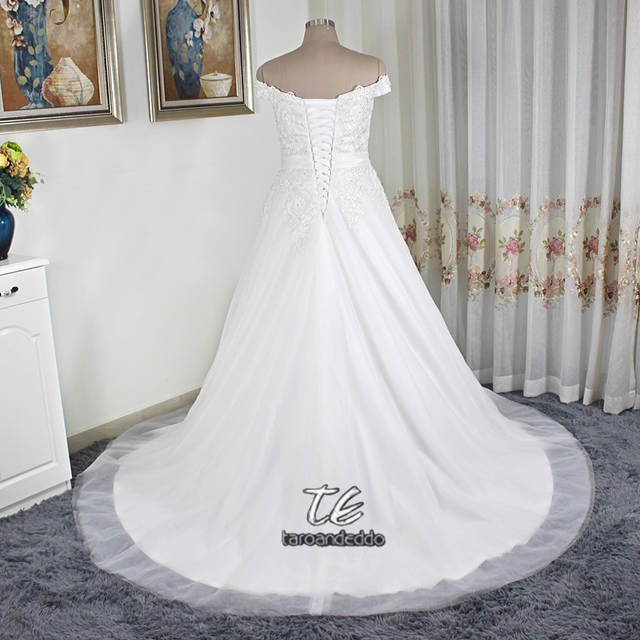placeholder Off the Shoulder Silver Lace Applique Ball Gowns Plus Size  Tulle Wedding Dress 26W Customized Made f45af3ec23f6