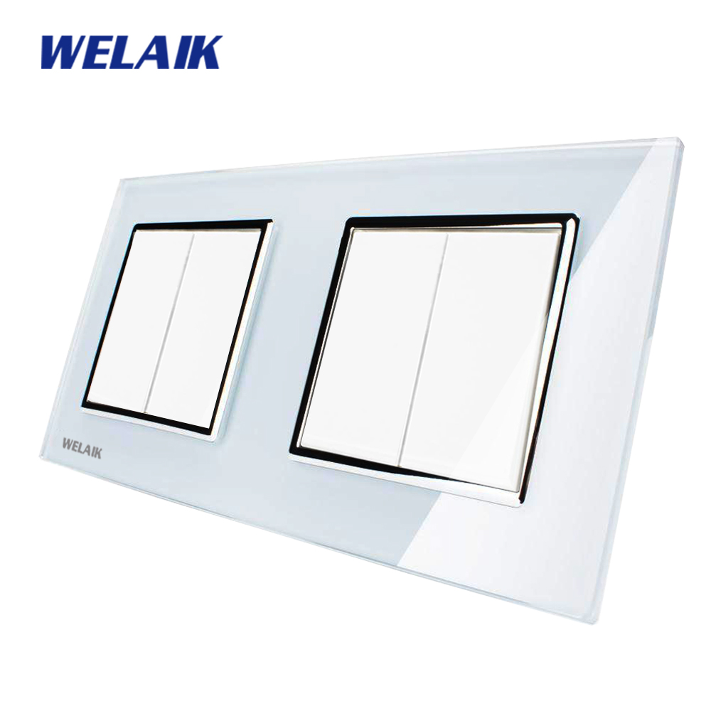WELAIK Push Button Switch Manufacturer of Wall Light Switch Black White Crystal Glass Panel AC 110-250V 2Gang 1Way A272121W/B manufacturer xenon wall switch 110 240v smart wi fi switch button glass panel 1 gang ivory white eu touch light switch panel