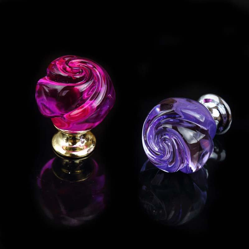 glass rose knobs purple pink glass crystal watch tv table bookcase pulls knobs silver gold dresser kitchen cabinet door handles 33mm glass kitchen cabinet handles clear crystal drawer knobs silver tv table dresser cuoboard furniture door pulls knobs